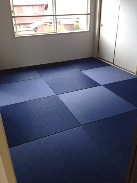 清流 藍色で製作された畳部屋の事例です。和室リフォーム物件