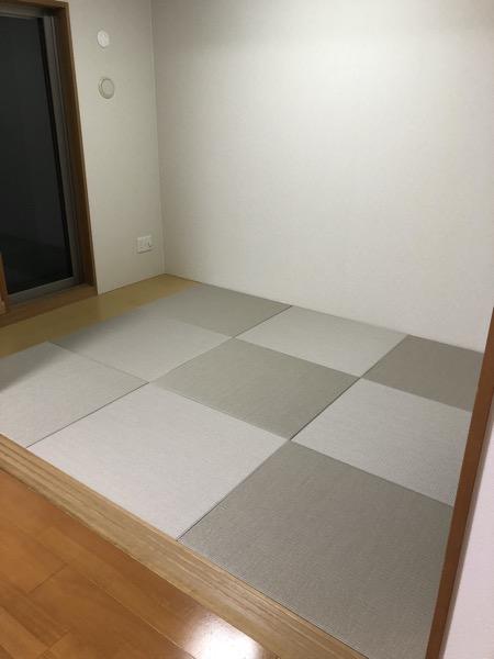 琉球畳を敷いた部屋 清流 灰桜色