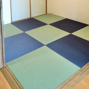 古くて傷んだ和室の畳をツートンカラーの琉球畳に自分で入れ替え